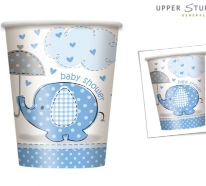 Umbrella Elephant Boy Baby Shower Paper Cups (8ct)