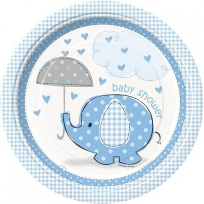 "8"" Umbrellaphants Blue Normal Party Plates (8ct)"