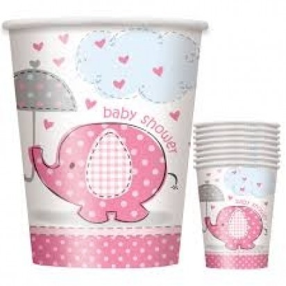 Umbrella Elephant Girl Baby Shower Paper Cups (8ct)