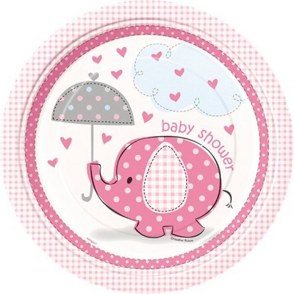 "8"" Umbrellaphants Pink Normal Party Plates (8ct)"