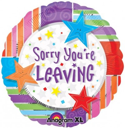 "18"" Sorry You're Leaving Helium Foil Balloon"