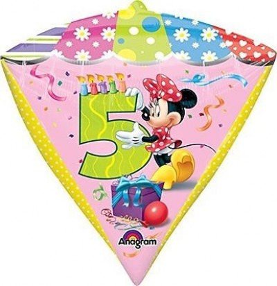 "16"" Minnie Age 5 UltraShape Diamondz Helium Foil Balloon"