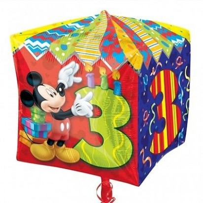 "15"" Mickey Mouse Age 3 Cubez Helium Foil Balloon"