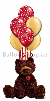 (Gund) Romantic Valentine Teddy Balloon Bouquet