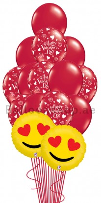 15 Balloons Valentine's Day Heart Struck Balloon Arrangement