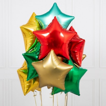 Ten (10) Traditional Christmas Stars Foil Bunch