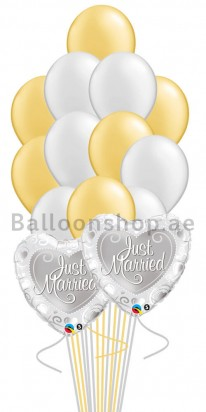 Just Married Bouquet (14 Balloons)