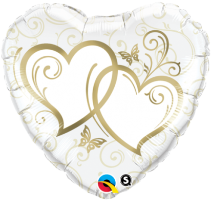 "18"" Heart Entwined Gold Helium Foil Balloon"