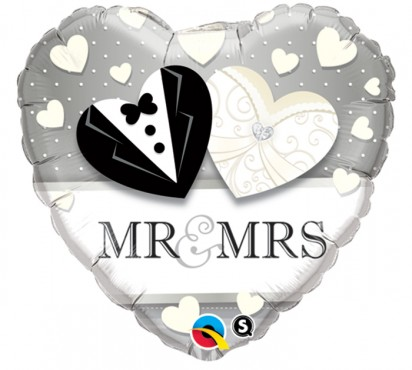 "18"" Mr & Mrs Helium Foil Balloon"