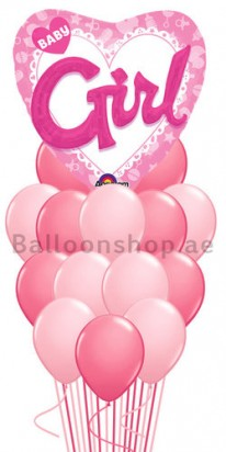 Its a Girl Mega Jumbo 3D Newborn Balloon Bouquet