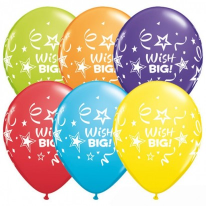 "11"" Wish Big Assortment Helium Balloon  (Set of 6)"