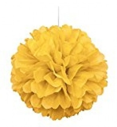Yellow Pom Pom Decoration, 16-Inch