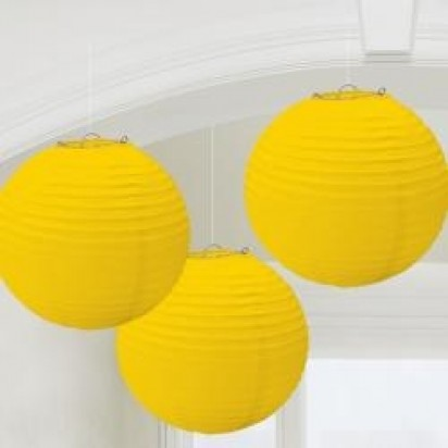 Yellow Round Paper Lanterns, (3-PACK Cluster)