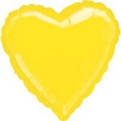 "18"" Yellow Heart Helium Foil Balloon"