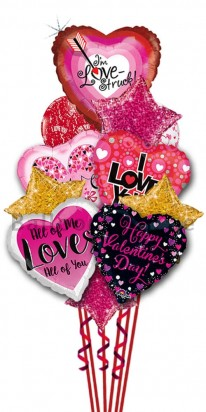 Happy Valentine Day  Glitterry Balloon Bouquet