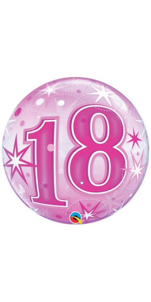 "22"" Single Bubble Packaged 18 Pink Starburst Sparkle Helium Foil Balloon"