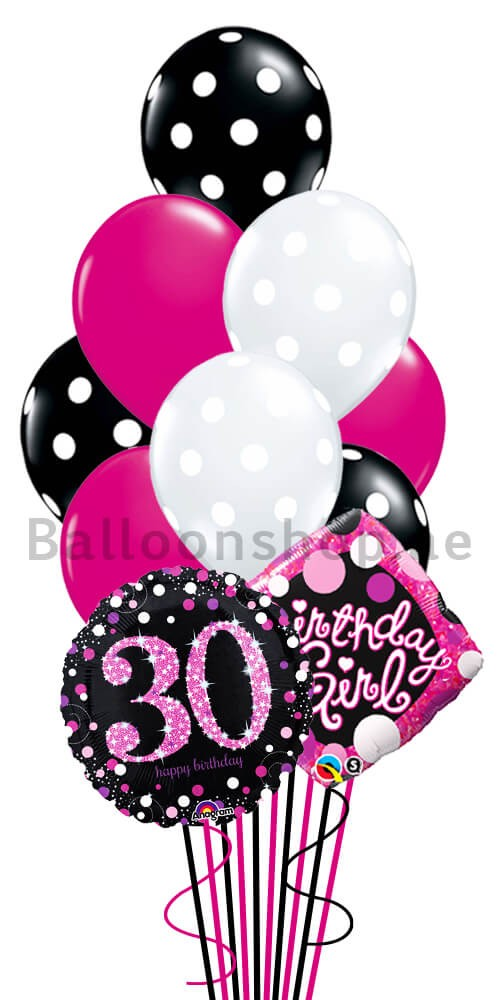 30th Birthday Girl Helium Balloon Bouquet