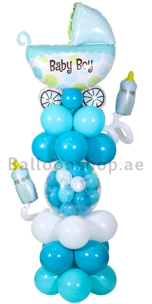Baby Boy Teal Blue Carriage Newborn Balloon Arrangement