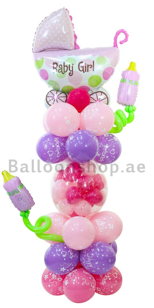 Baby Girl Carriage Newborn Balloon Arrangement