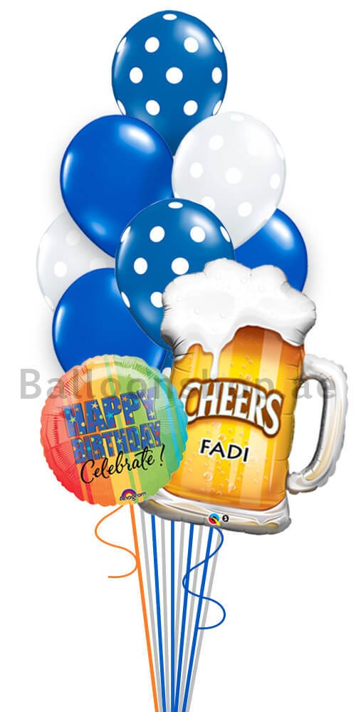 Cheers To You Personalized Birthday Balloon Bouquet