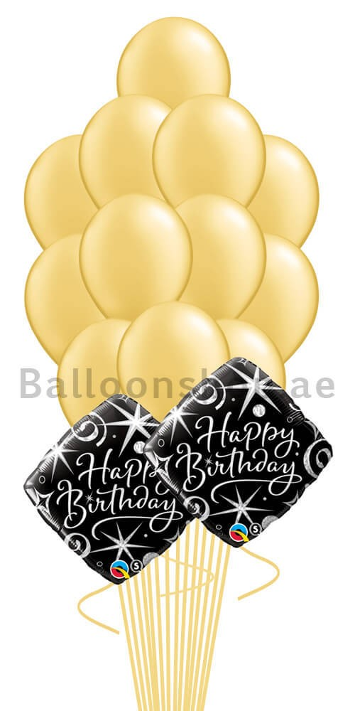 (14 Balloons) - Gold Birthday Balloon Bouquet