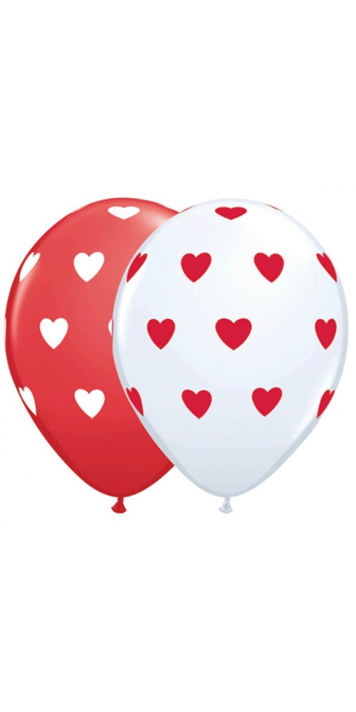 """11"""" Heart White Red Helium Balloons (SET OF 2)"""