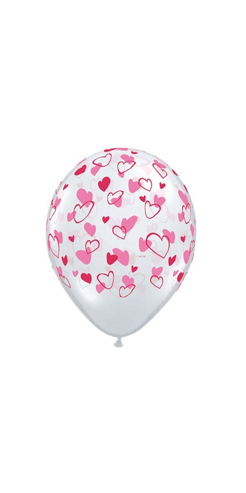 "11"" Red and Pink Hearts Love Transparent Helium Latex Balloons"