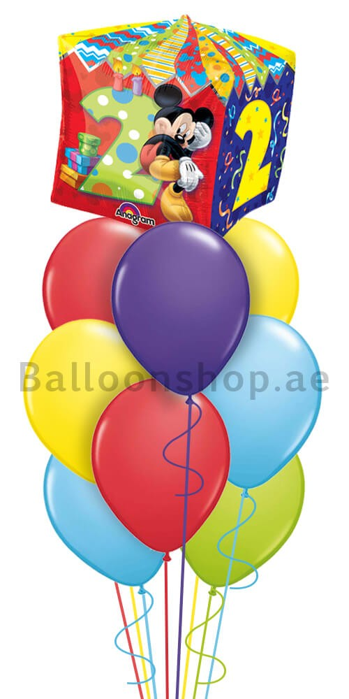 Mickey Mouse 2nd Birthday Helium Balloon Bouquet