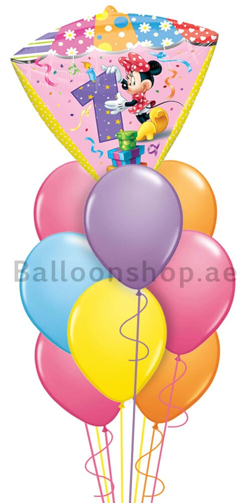 Minnie Mouse 1st Birthday Balloon Arrangement
