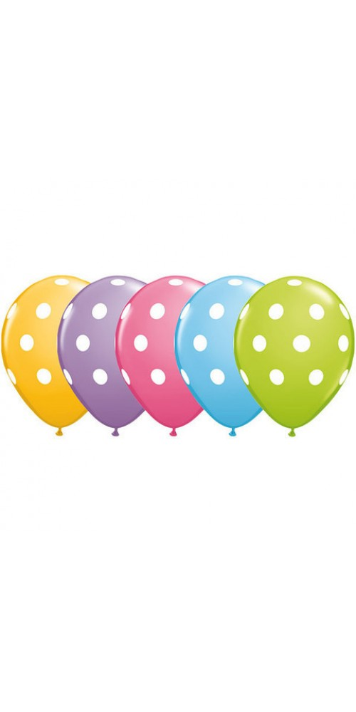 "11"" Polka Dots Assortment Helium Balloons (Set of 5)"