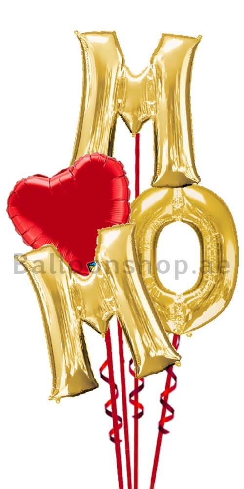 Gold Letters Mother Balloon Bouquet