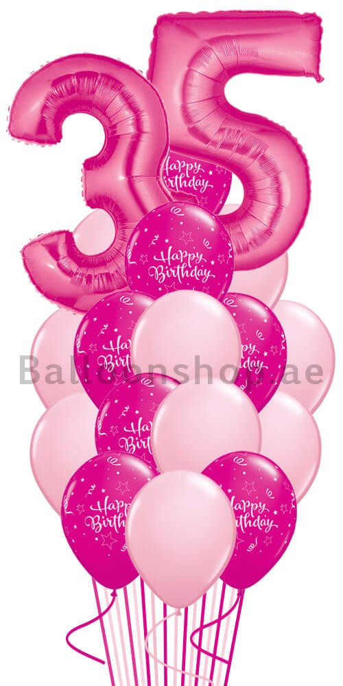 Any Age Pink Madness Birthday Balloon Bouquet