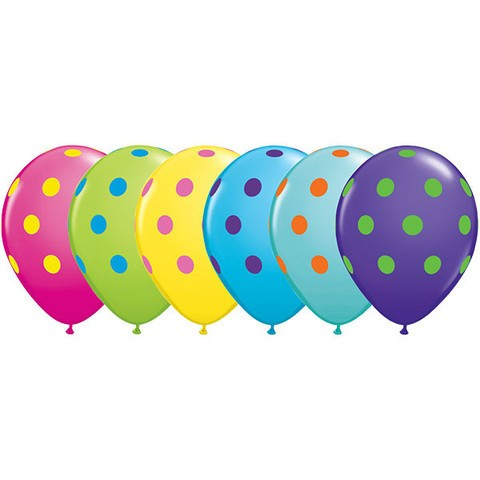 "11""  Colorful Polka Assortment Helium Balloons (Set of 6)"